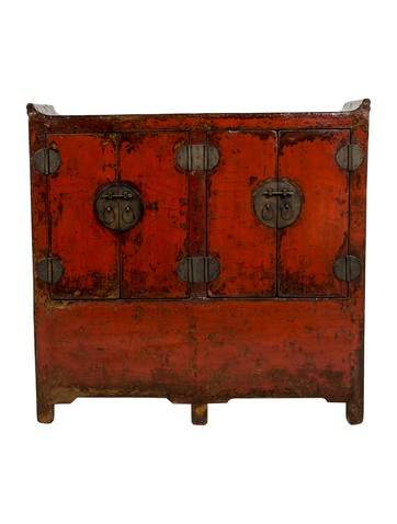 Furniture 19th-Century Chinese Elmwood Cabinet
