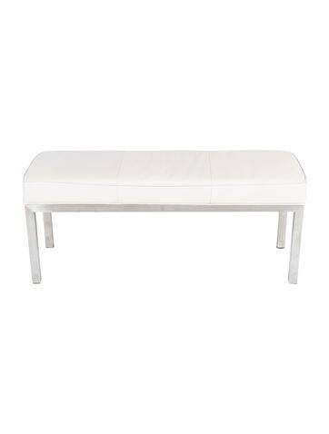 Furniture White Leather Bench