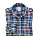 Brooks Brothers Madras Shirt, 17″-17.5″ - Blue/Red/Yellow