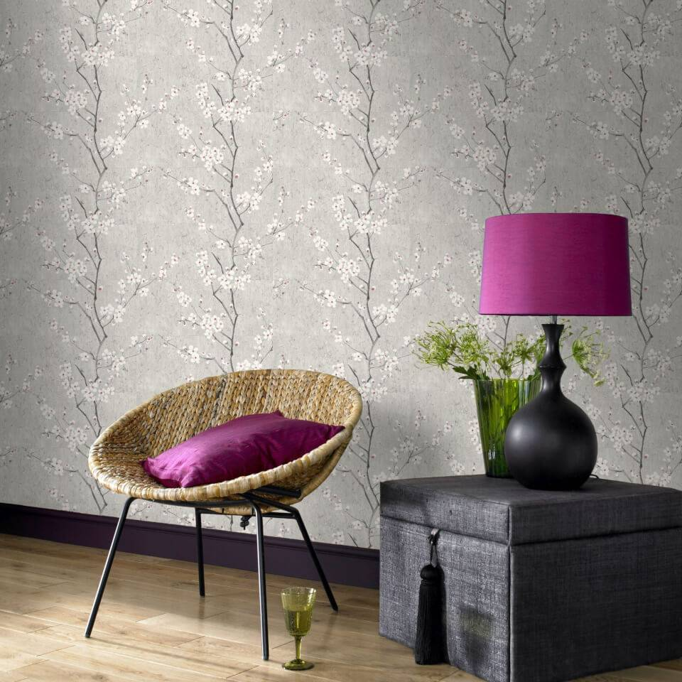 Graham Brown Boutique Sakura Cork Effect Metallic Cherry Blossom Wallpaper