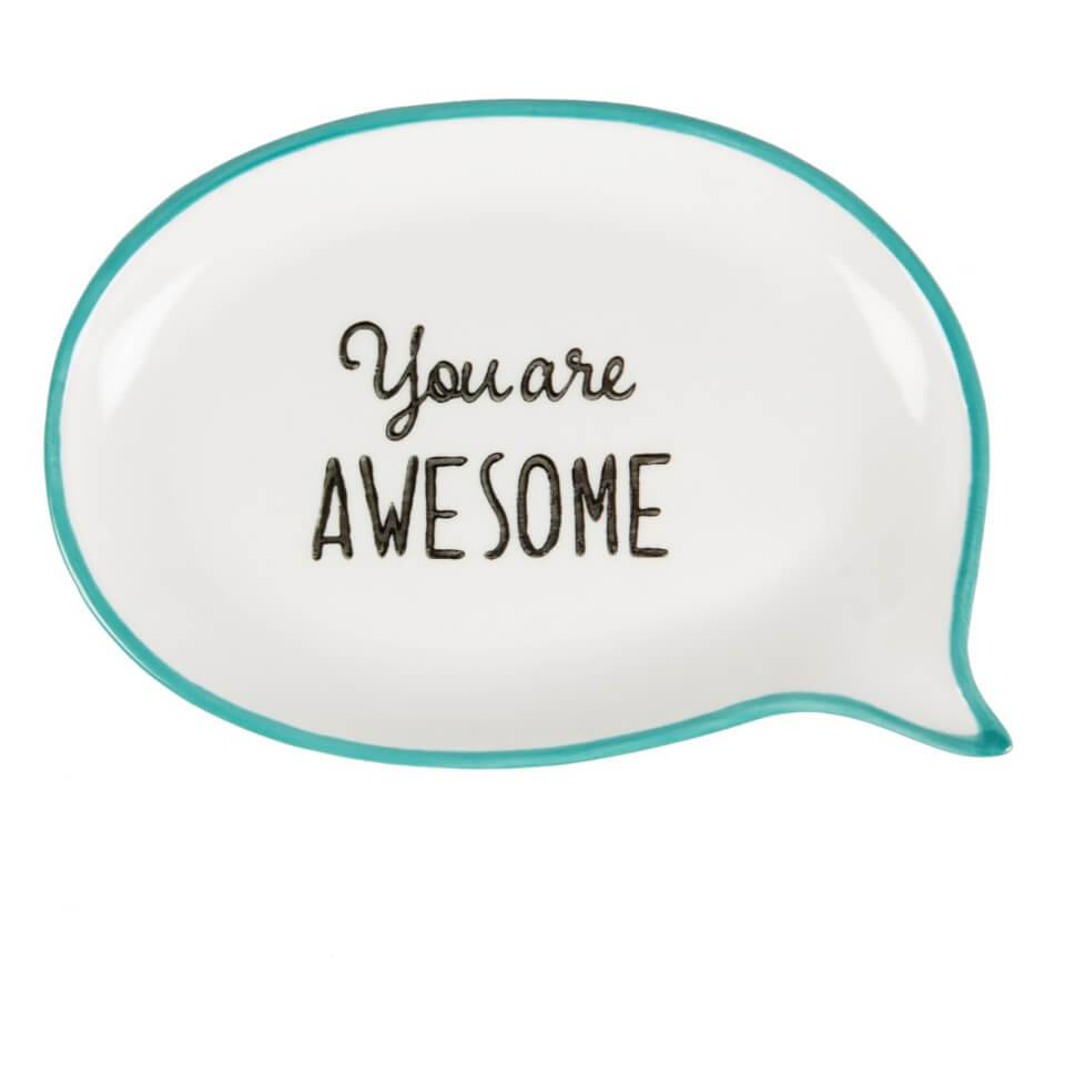 Sass & Belle You Are Awesome Sweet Speech Jewellery Dish - Blue