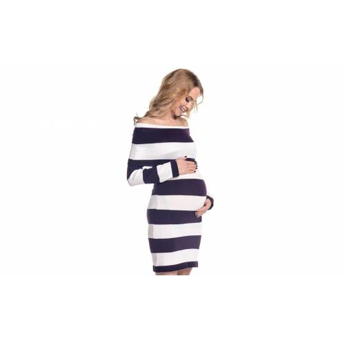 Groupon Goods White and Purple Bardot Maternity Knitted Dress