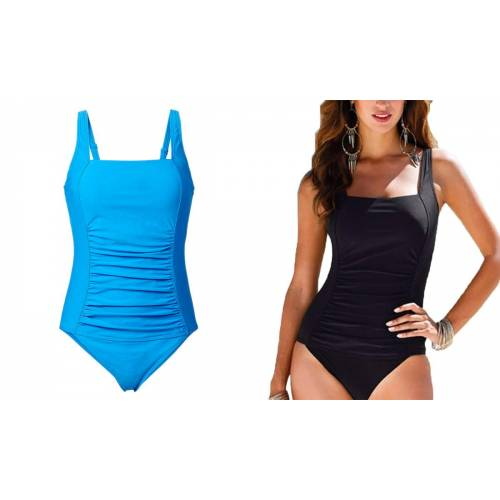 Groupon Goods Women's Ruched Front Swimsuits: Two - Black and Blue/XL