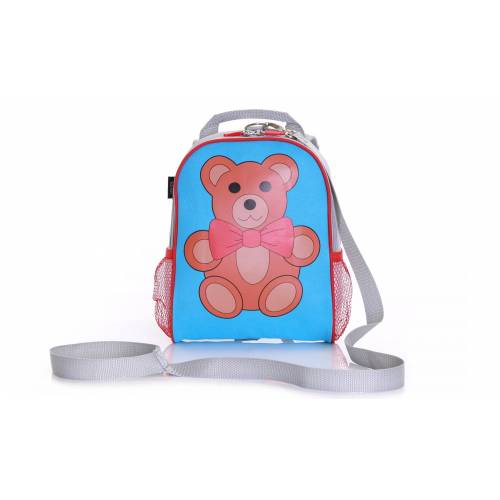 Wobbly Forest Teddy Toddler Backpack - Blue/Red