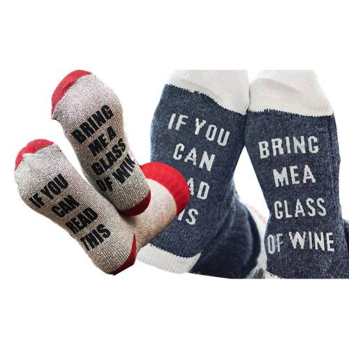 Groupon Goods Women's Four Pairs of Bring Me Wine Warm Novelty Socks - Two Blue/White and Two Red/Grey