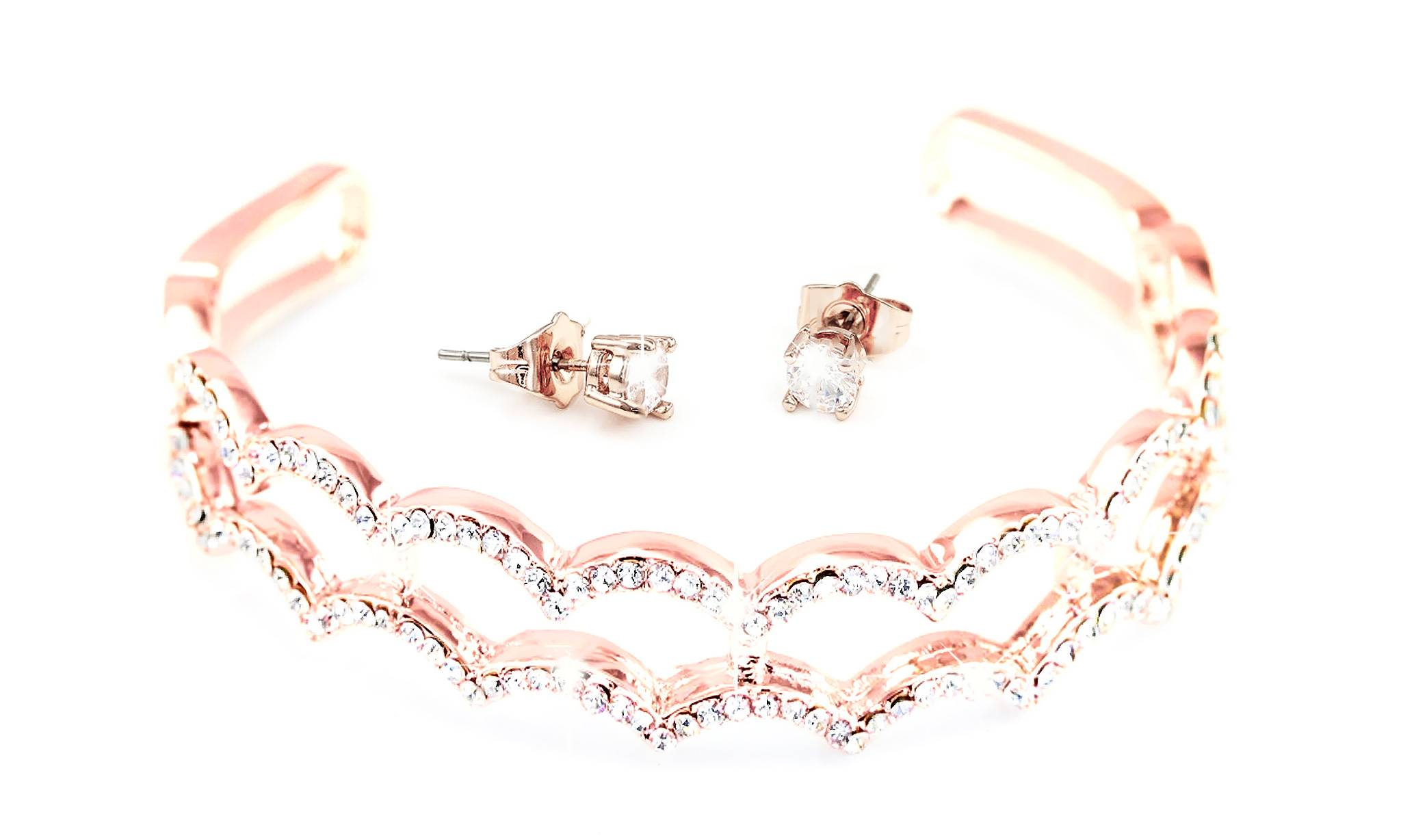 Groupon Goods Two Cecilia Two-Piece Jewellery Sets - Rose Gold