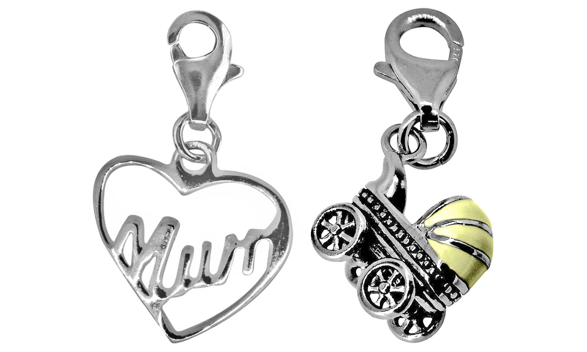 Groupon Goods Sterling Silver Jewellery: Set of Two Charms/Mom-Stroller(18mm)