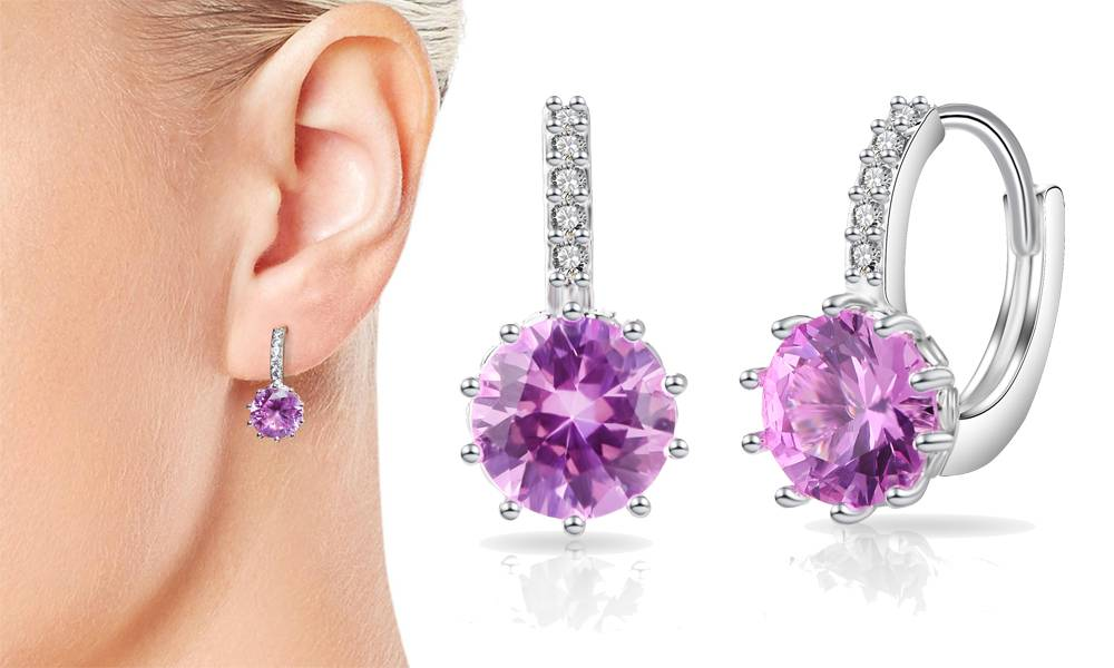 Groupon Goods Philip Jones Jewellery - Pink - Simulated Sapphire Solitaire Drop Earrings - One Pair