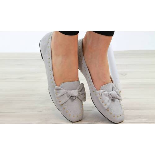 Groupon Goods Women's Studded Bow Loafers: Grey/UK 4