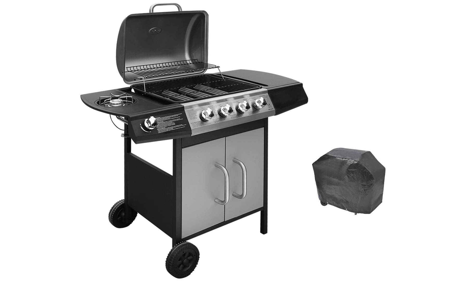 VidaXL Gas Barbecue Four-in-One Grill Burner - Black/Silver