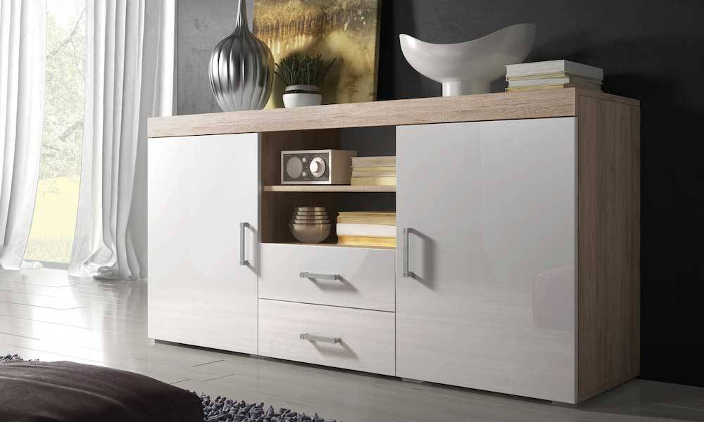 Groupon Goods Mambo Furniture: Sideboard/Sonoma Oak with White Gloss Front