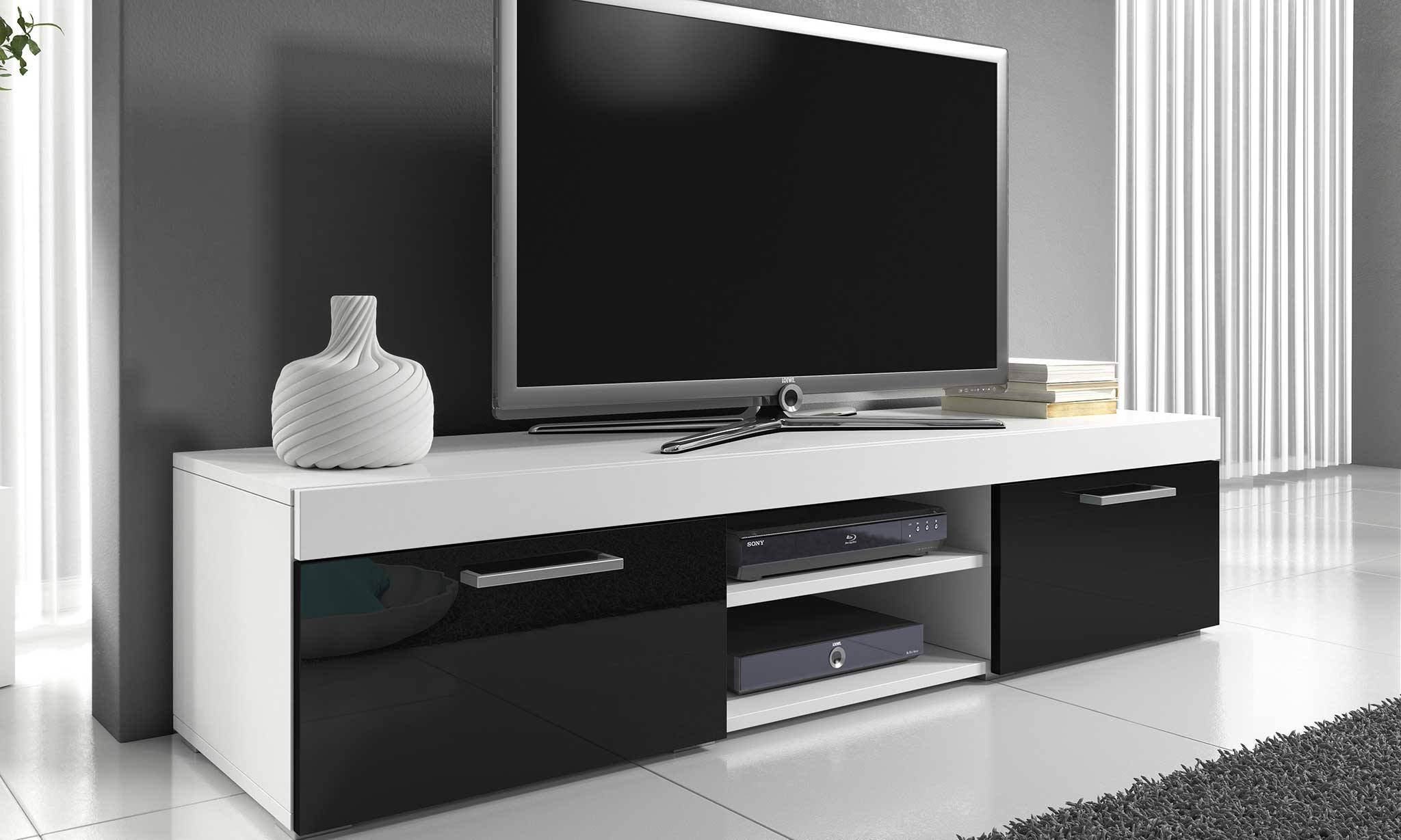 Groupon Goods Mambo Furniture: TV Cabinet/White with Black Gloss Front