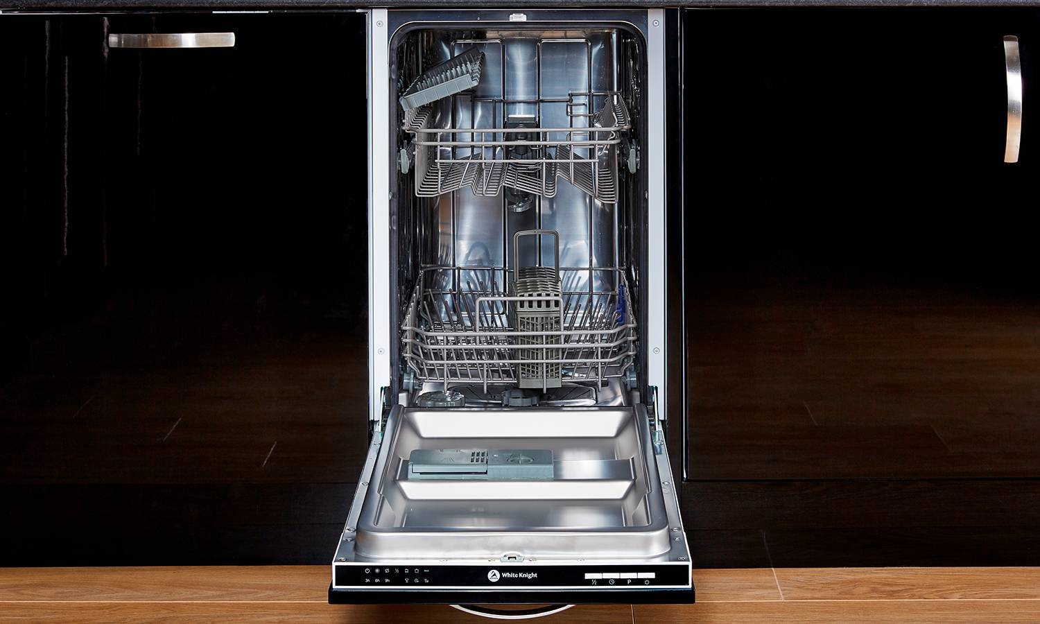 White Knight Slimline Integrated Dishwasher with 10-Place Setting Capacity DW1045IA