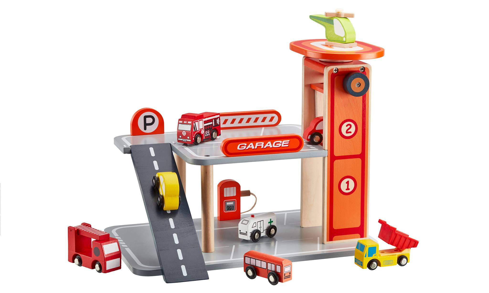 Groupon Goods Wooden Toy Parking Garage with Five Additional Cars