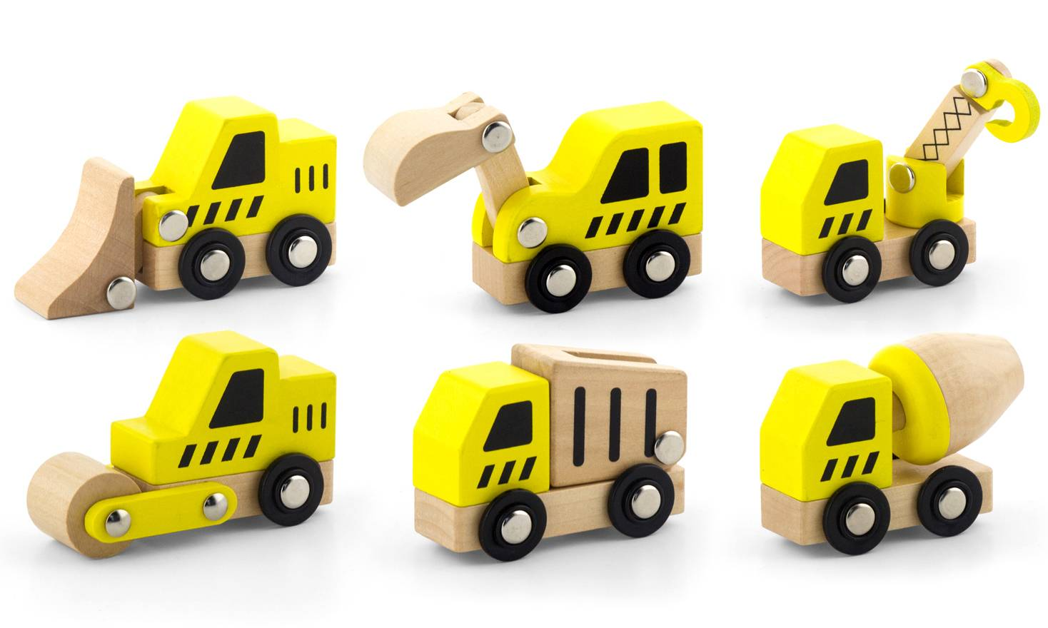 Viga Six-Piece Wooden Construction Vehicle Set