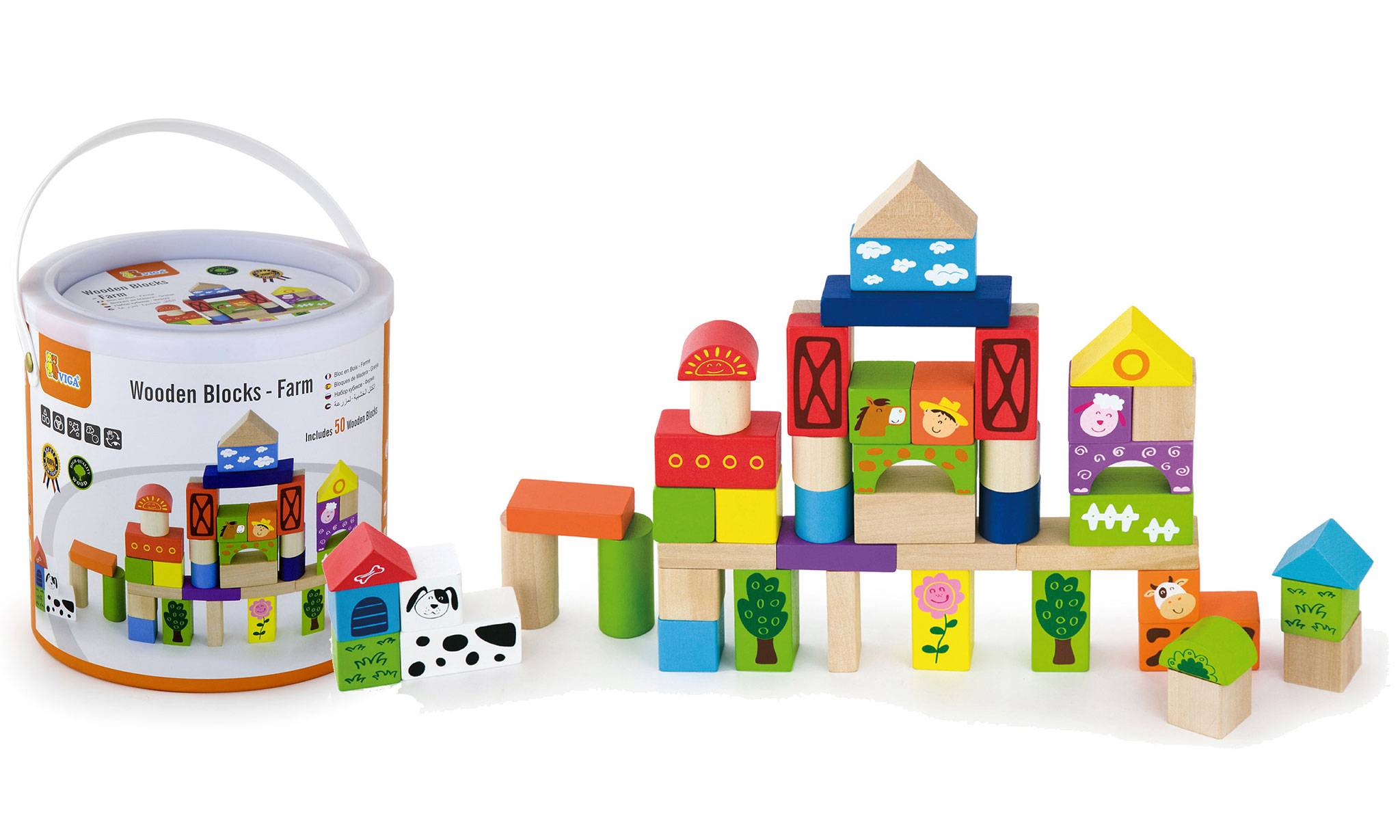 Viga Toys 50-Piece Wooden Building Block Set