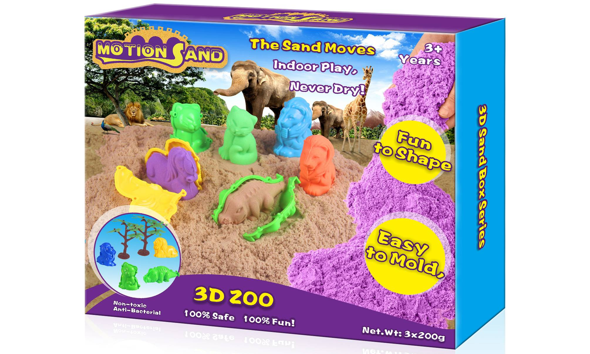 Motion Sand 3D Zoo Animals Playset