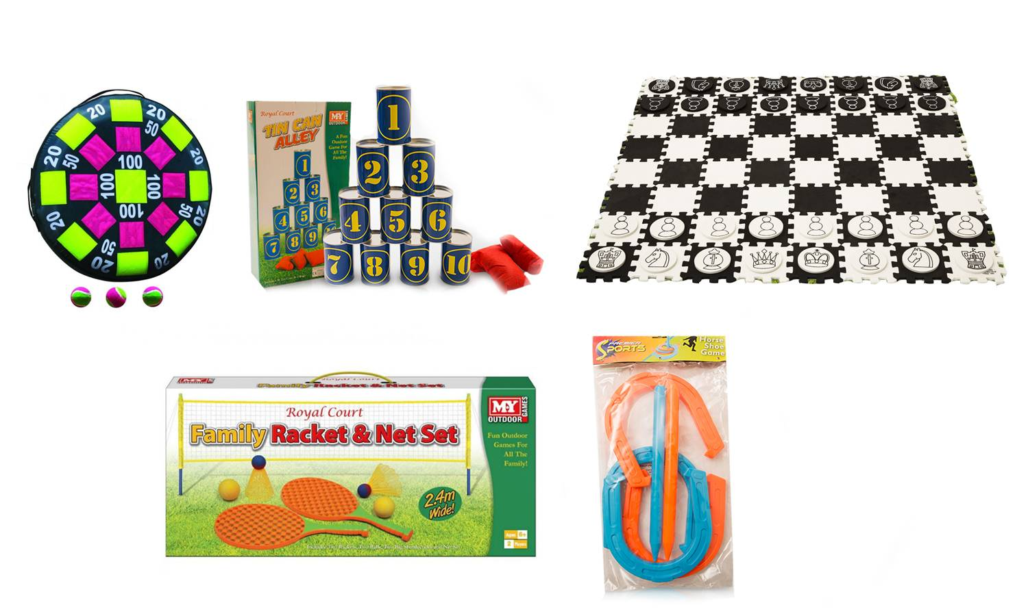 Groupon Goods Set of Fiv - Horse Shoe Game, Tin Can Alley, Giant Draughts and Chess, Inflatable Velcro 50cm Target, Racket and Net Set