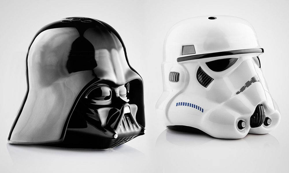 Star Wars Salt and Pepper Shakers Darth Vader and Stormtrooper Helmets: One