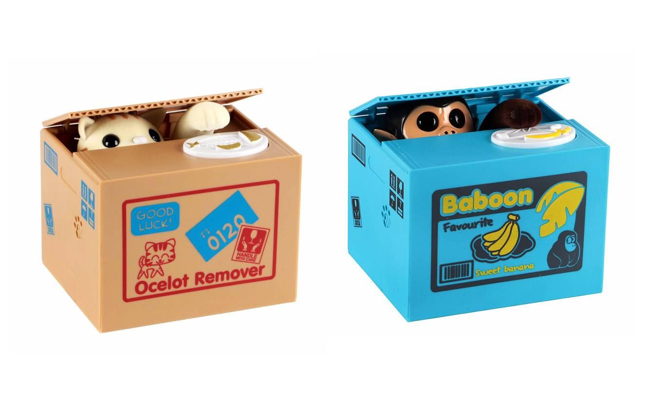 Groupon Goods Two Mischief Money Boxes - Cat and Monkey