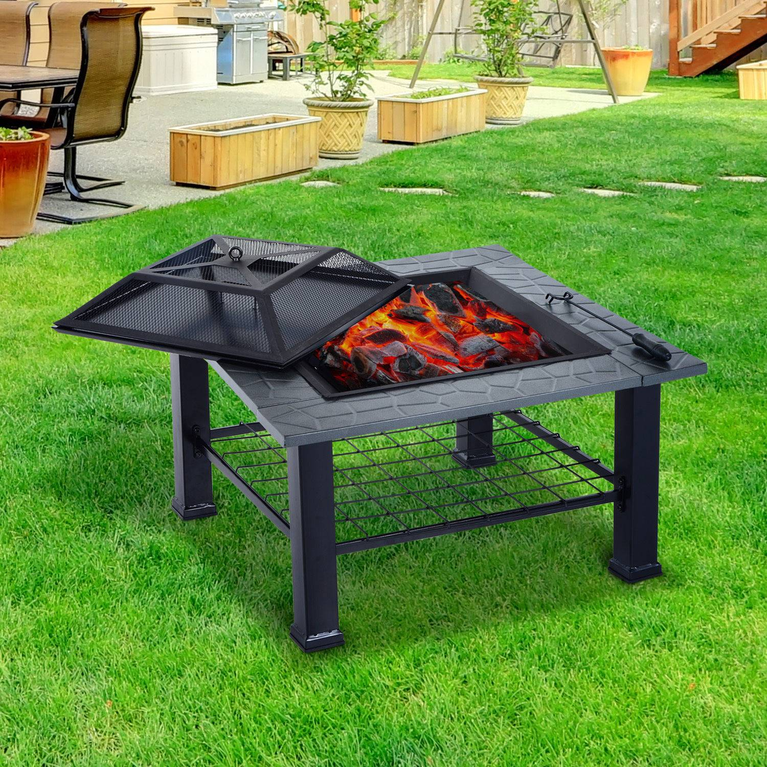 Outsunny Patio Fire Pit 81cm Fireplace BBQ Grill Stove Heater Brazier