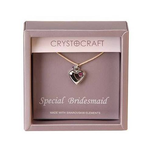 Confetti Crystocraft Necklace with Heart Charm-Our Special Bridesmaid