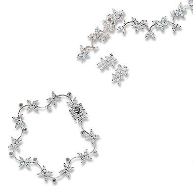 Confetti Cubic Zirconia Clusters in Silver Jewellery - Necklace