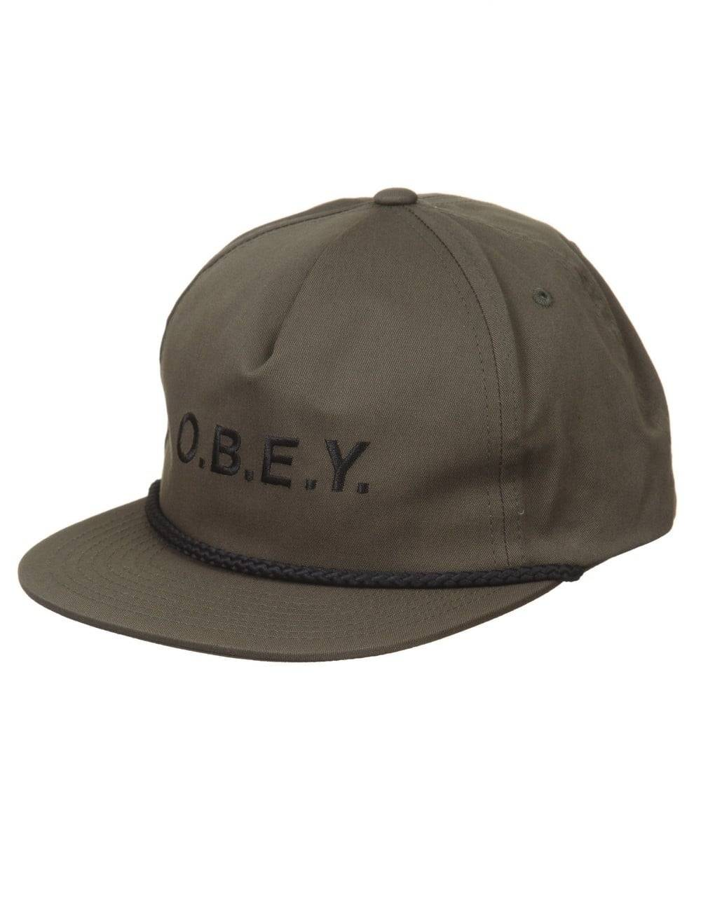 Obey Clothing Contorted Snapback Hat - Army Size: ONE SIZE, Colour: Ar