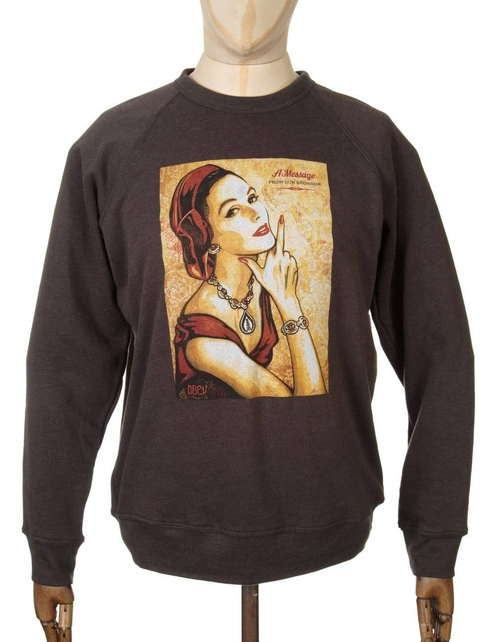Obey Clothing Message from our Sponsor Sweat - Vintage Black Size: Sma