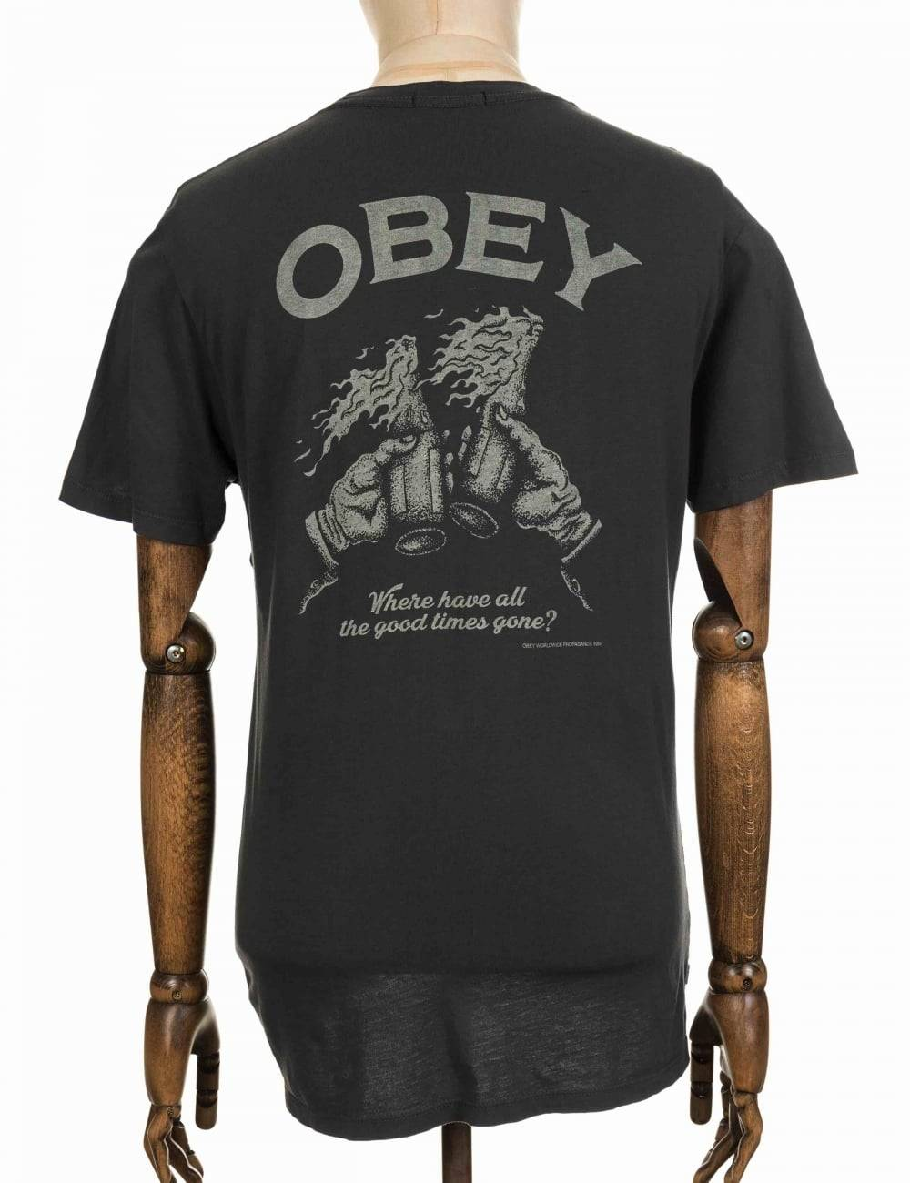 Obey Clothing Good Times Gone Tee - Pirate Black Colour: Pirate Black