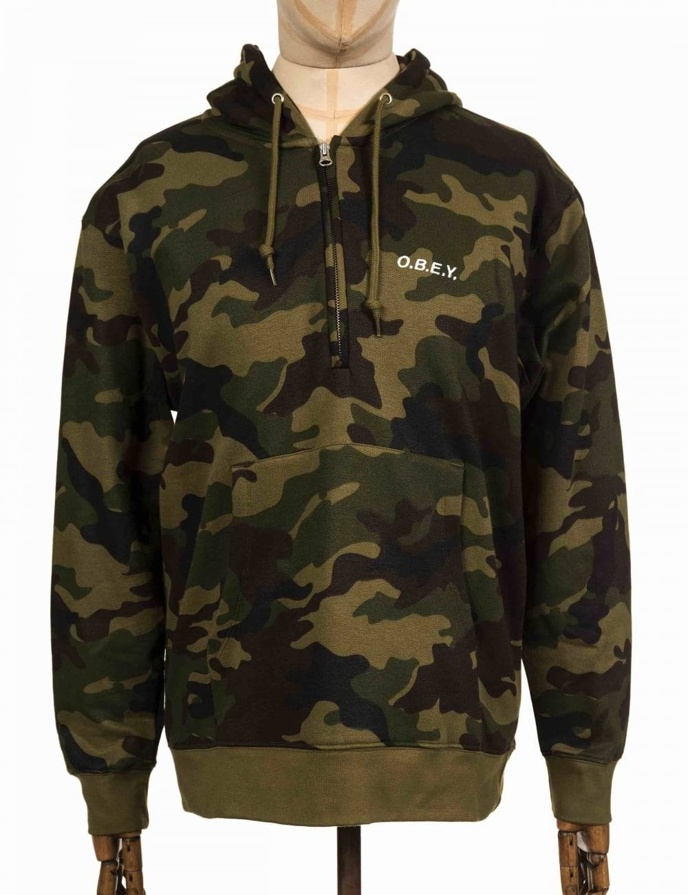 Obey Clothing Ennett Zip Hooded Sweat - Camo Size: Small, Colour: Camo