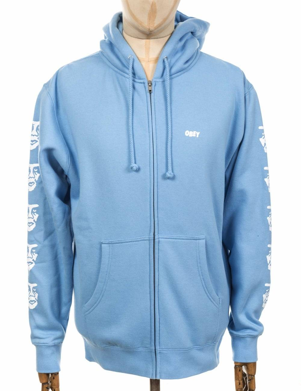 Obey Clothing Creeper 2 Zip Hooded Sweat - Powder Blue Size: X Large,