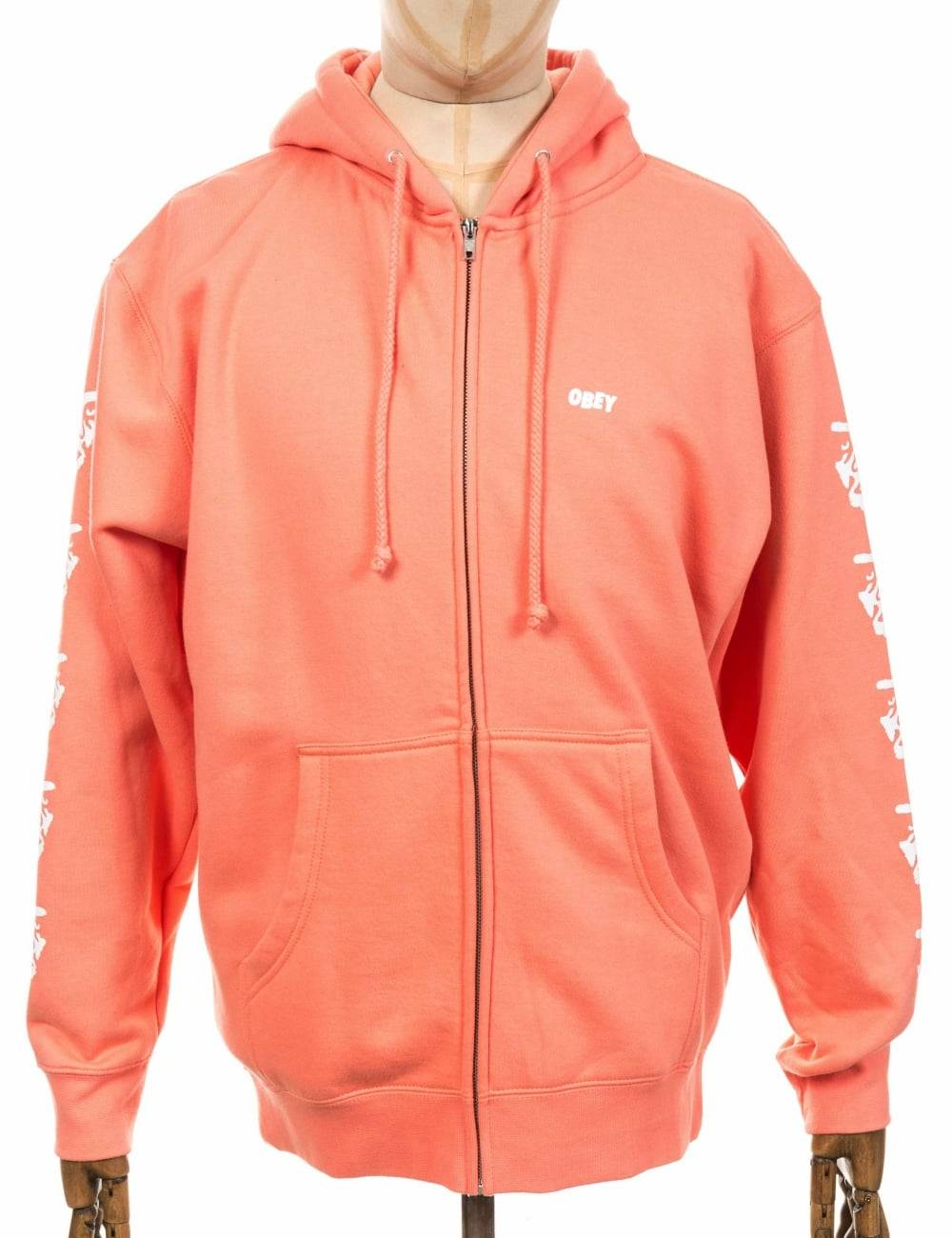 Obey Clothing Creeper 2 Zip Hooded Sweat - Coral Size: Small, Colour: