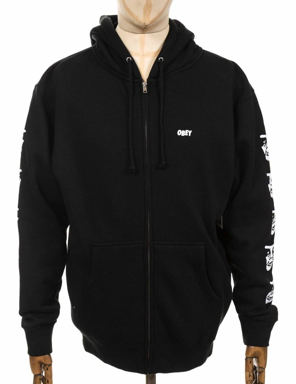 Obey Clothing Creeper 2 Zip Hooded Sweat - Black Size: Large, Colour: