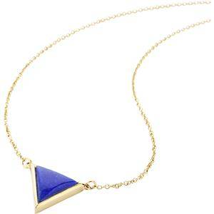 Gab & Ty by Jana Ina Accessories Necklace Triangle Jewellery Set Chain with Dark Blue Lapis Lazuli, Yellow Gold-Plated Length: approx. 42 cm 1 Stk.