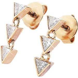 Gab & Ty by Jana Ina Accessories Earrings Triangle Jewellery Set Earrings with Six White Cubic Zirconias, Rose Gold-Plated 1 Stk.