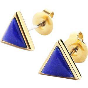Gab & Ty by Jana Ina Accessories Earrings Triangle Jewellery Set Ear Studs with Dark Blue Lapis Lazuli, Yellow Gold-Plated 1 Stk.