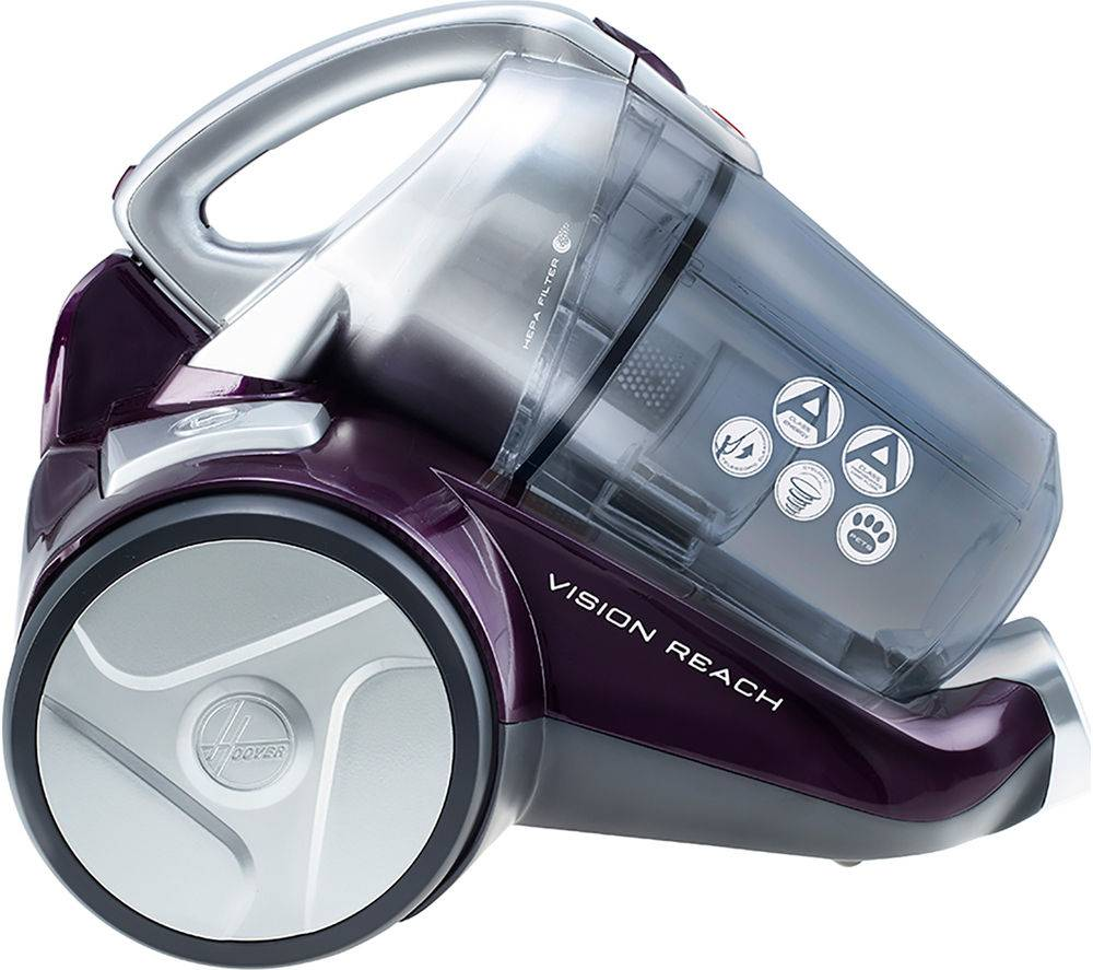 Hoover BF70 VS11 Vision Reach Pets Cylinder Bagless Vacuum Cleaner - Purple & Silver