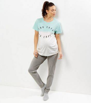 New Look Maternity Mint Green Too Cute To Care Pyjama Set (Sizes: S, M)