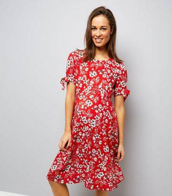 New Look Maternity Red Floral Tie Sleeve Dress (Sizes: 4)