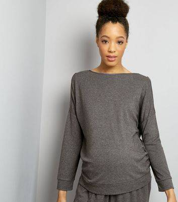 New Look Maternity Grey Brushed Jersey Cold Shoulder Sweater (Sizes: 6, 12, 14, 16, 8, 18, 10)