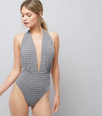 New Look Black Gingham Plunge Swimsuit (Sizes: 8, 6, 10, 12, 14, 16, 18)