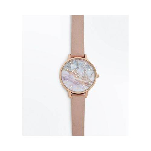 New Look Pink Strap Marble Dial Watch (Sizes: One size)