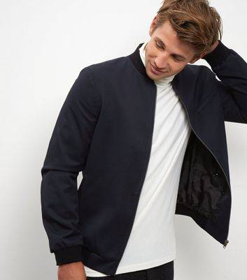 New Look Navy Tailored Bomber Jacket (Sizes: S)