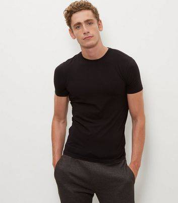 New Look Black Stretch Crew Neck T-Shirt (Sizes: XXS)