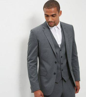 New Look Grey Slim Fit Suit Jacket (Sizes: 46R, 38R, 40R, 42R, 44R)