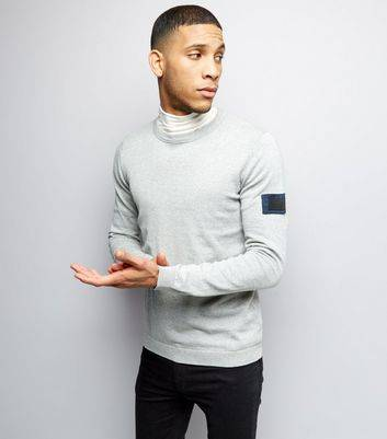 New Look Jack & Jones Grey Sleeve Patch Knitted Jumper (Sizes: M, XL)