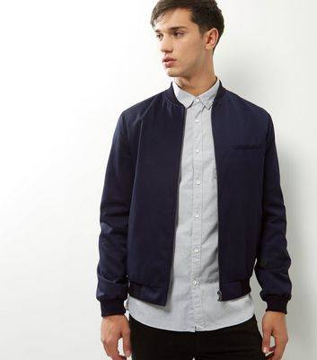 New Look Navy Single Pocket Tailored Bomber Jacket (Sizes: XS, S, M, L, XL, XXL)