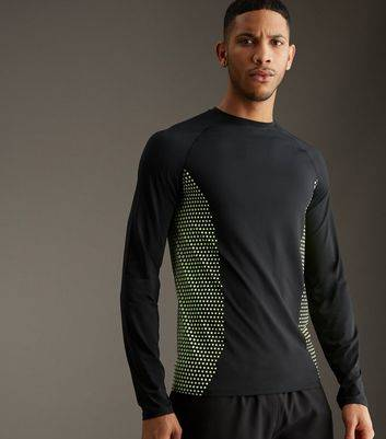 New Look Black Honeycomb Print Sports Long Sleeve T-Shirt (Sizes: XXS)