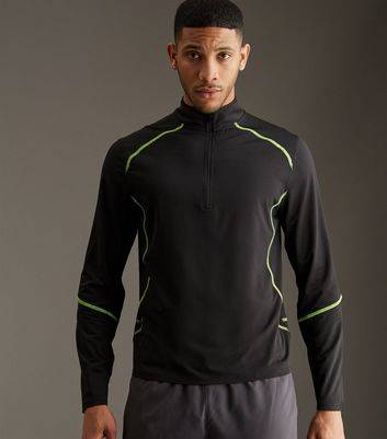 New Look Black Fluorescent Seam Funnel Neck Sports Sweater (Sizes: M)